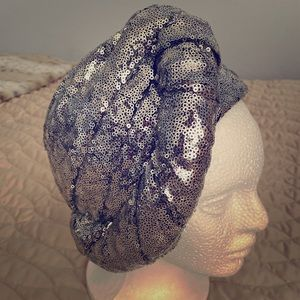 Silver sequin pin up style hat